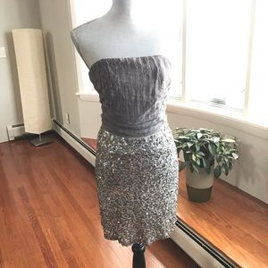 ALICE + OLIVIA Gray & Silver Sequin Silk Dress, 4